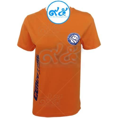 เสื้อคอวี สีส้ม สกรีน