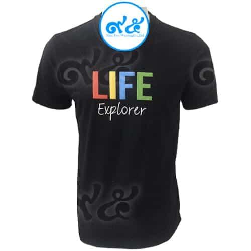 เสื้อคอกลม สีดำ Life Explorer