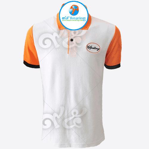 เสื้อโปโลสีขาวปักอกซ้ายแขนสีส้มคอปกสีส้ม