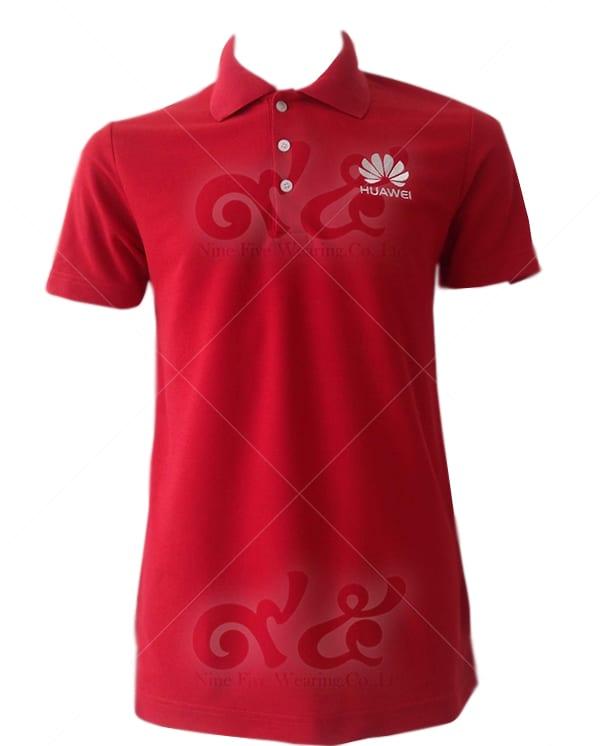 เสื้อโปโล สีแดง ปักอกซ้าย huawei