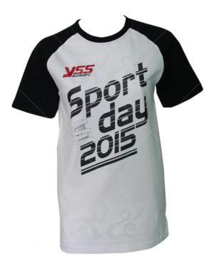 เสื้อยืด-คอกลม-สกรีน-สีขาวดำ-yss-sport-day