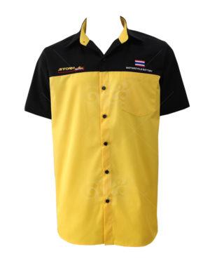 เสื้อเชิ้ตแขนสั้น-ตัดต่อ-สี-เหลือง-ดำ-ปักซ้ายขวา