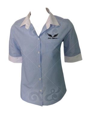 เสื้อเชิ้ตลายสก็อต-แขนสามส่วน-ตัดต่อปลายแขนสีขาว-ปักอกซ้าย shirt 11