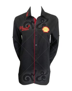 เสื้อเชิ้ต-สกรีน-shell-v-power-nitro-สี-ดำ-สาบแดง shirt 13