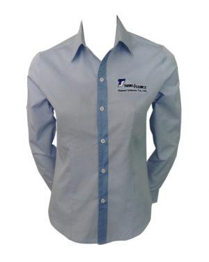 เสื้อเชิ้ตแขนยาว-สีฟ้าอ่อน-แต่งสาบสีฟ้าเข้ม-ปักอกซ้าย shirt 04