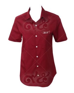 เสื้อเชิ้ตแขนสั้น-สีแดง-ปักอกซ้าย-มีกระเป๋า shirt 08