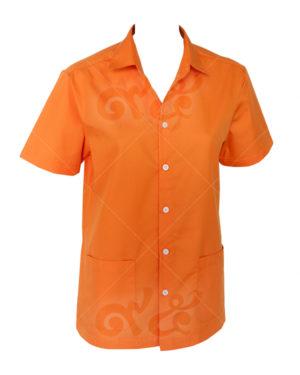 เสื้อเชิ้ตแขนสั้น-สี-ส้ม-เย็บกระเป๋าพักแขน shirt 15