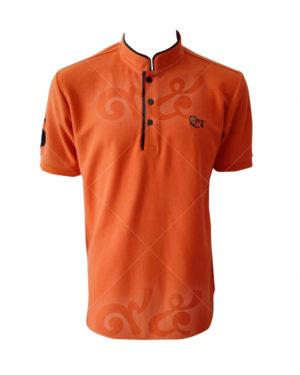 เสื้อโปโล-คอจีน-สีส้มสว่าง-ปลายปกดำ-ปักอกซ้ายและแขนขวา-polo-22