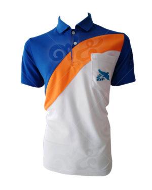 เสื้อโปโล-คอปก-ตัดต่อ-สี-ขาว-ส้ม-น้ำเงิน-อกซ้ายปัก-มีกระเป๋า-polo-33