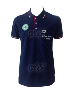 เสื้อโปโล คอปก สี น้ำเงิน ปก แขน ขลิปสองเส้น สี ขาว-แดง ปักอกขวาและกระเป๋าซ้าย polo-08