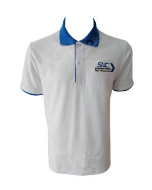 เสื้อโปโล-สีขาว-คอปก-สาบใน-แขนจั้ม-สีฟ้าเข้ม-ปักอกซ้าย-polo-28