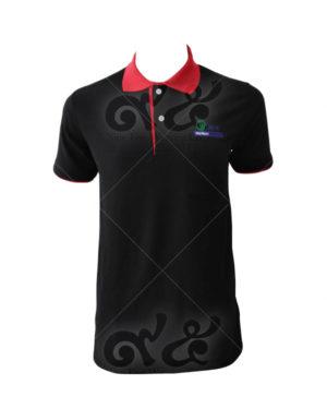 เสื้อโปโล-สีดำ-คอปก-ปลายแขน-สาบใน-สี-แดง-ปักอกซ้าย-polo-31