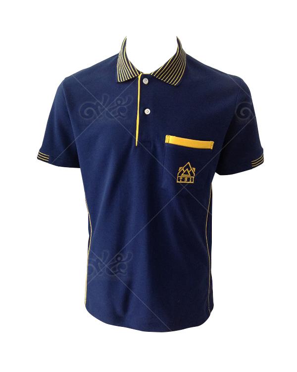 เสื้อโปโล-สีน้ำเงิน-ขลิปสก็อตสีเหลือง-ต่อซกครึ่งแขน-ปักกระเป๋าซ้าย ตัดต่อเส้นลำตัว-polo-09