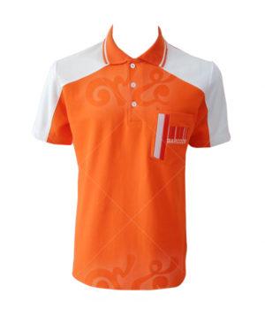 เสื้อโปโล-สีส้มสว่าง-ตัดต่อไหล่-สีขาว-คอปก-ขลิป-ขาว-ปักกระเป๋าซ้าย-polo-21