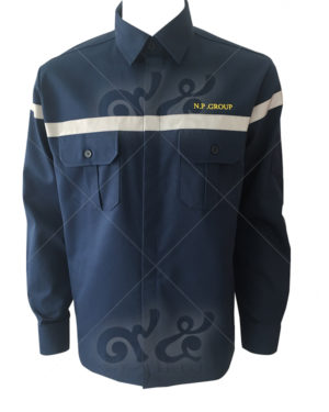 ยูนิฟอร์ม-เสื้อช็อปช่างแขนยาว สีกลม ติดเทปอก ปักอกซ้าย ด้านหน้าติดกระเป๋าสองข้าง-12