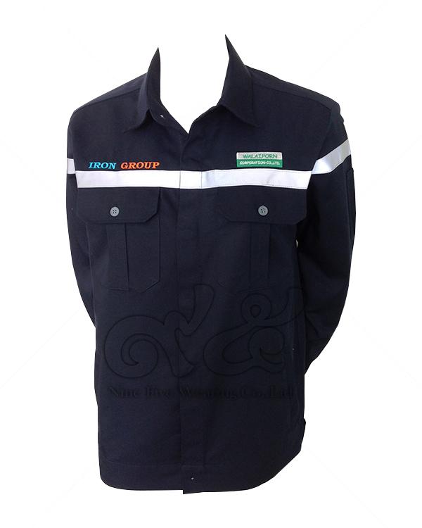 ยูนิฟอร์ม-เสื้อช็อปช่างแขนยาว-สีดำ-คาดเทปขาว-ติดกระเป๋า-ปักสองข้าง-แขนติดกระเป๋าปากกา-15