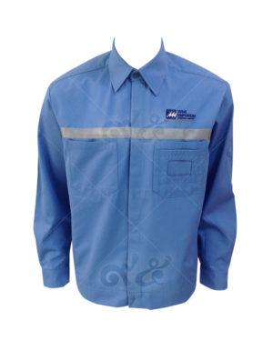 ยูนิฟอร์ม-เสื้อช็อปช่างแขนยาว สีฟ้า ติดเทปสะท้อนแสง ปักอกซ้าย 10