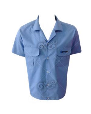 ยูนิฟอร์ม-เสื้อช็อปช่างแขนสั้น-พนักงาน-สีฟ้า-ปักอกซ้าย-ปกฮาวาย-19