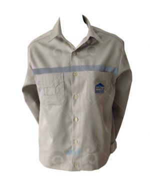 ยูนิฟอร์ม-เสื้อช็อปแขนยาว สีเบจ ปักอกซ้าย ติดเทปสะท้อนแสง-22