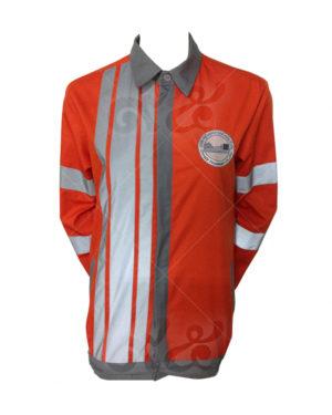 ยูนิฟอร์ม เสื้อช็อปแขนยาว สีแสด ติดเทปสะท้อนแสง ปักอกซ้าย สาบเทา 08