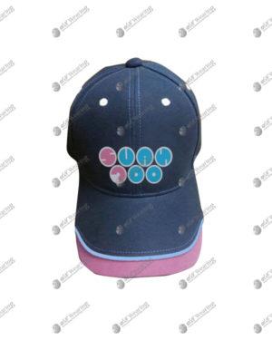 หมวกแก๊ปพรีเมี่ยมสีน้ำเงิน ตัดต่อปลายหมวกสีชมพู มีกุ๊น พร้อมสกรีน cap-07