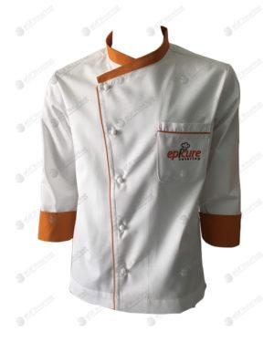 ชุดเชฟ สีขาว คอปกสีส้ม ปลายแขนสีส้ม 01