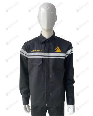 เสื้อช็อปแขนยาว 26 สีดำ ติดเทปสะท้อนแสง ปักอกซ้ายขวา