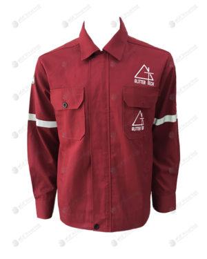 เสื้อช็อปแขนยาว 34 สีแดง มีกระเป๋า 2 ข้าง ติดเทปแขน ปักด้านซ้าย