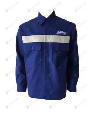 เสื้อช็อปแขนยาว 35 สีน้ำเงิน ติดเทปกลางอก มีกระเป๋า 2 ข้าง