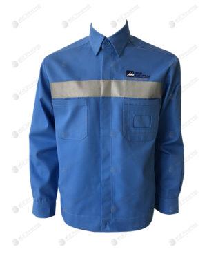 เสื้อช็อปแขนยาว 36 สีฟ้า ติดเทปกลางอก แขนยาว มีกระเป๋าด้านหน้า