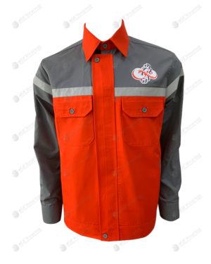เสื้อช็อปแขนยาว 37 ตัดต่อสีเทา-ส้ม ติดเทปกลางอก มีกระเป๋า 2 ข้าง