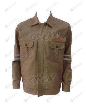 เสื้อช็อปแขนยาว 38 สีน้ำตาล ติดเทปที่แขนเส้นขนาน ปักอกซ้าย มีกระเป๋า
