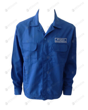 เสื้อช็อปแขนยาว 41 สีน้ำเงิน มีกระเป๋าด้านหน้า ปักอกซ้าย