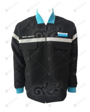 เสื้อช็อปแขนยาว 42 สีดำ ติดเทป มีกระเป๋า 2 ข้าง ปักอกซ้ายขวา
