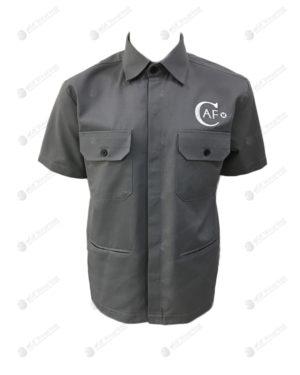 เสื้อช็อป 29 แขนสั้น มีกระเป๋า และที่ล้วงมือ สีเทา ปักอกซ้าย