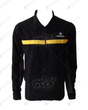 เสื้อแจ็คเก็ต สีดำ ตัดต่อ คอปก แนวกีฬา แขนยาว 06