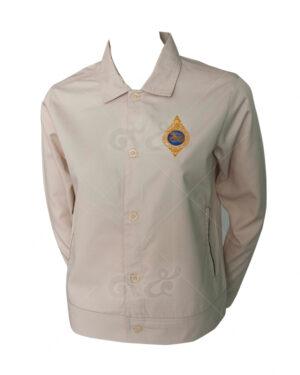 เสื้อแจ็คเก็ต แขนยาว สีครีม คอมทวิว แบบติดกระดุม คอปกแบบชุดสูท พร้อมปัก 02