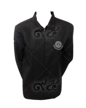เสื้อแจ็คเก็ต แขนยาว สีดำ คอปก แบบชุดสูท พร้อมปัก 09