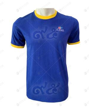เสื้อยืดคอกลม ตัดต่อ สีน้ำเงิน เหลือง สกรีน no.22
