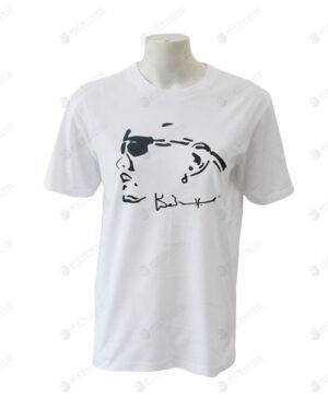 เสื้อยืดคอกลม สีขาว สกรีนสีดำ no.23