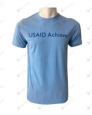 เสื้อยืดคอกลม สีฟ้า สกรีน no.89
