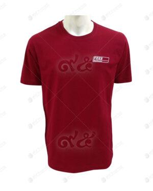 เสื้อยืดคอกลม สีแดง แขนสั้น สกรีน no.20