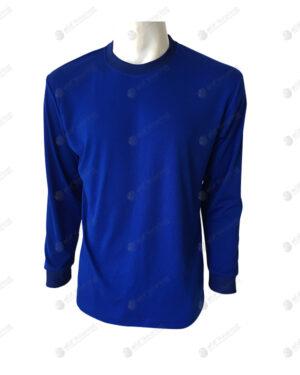 เสื้อยืดคอกลม แขนยาว สีน้ำเงิน แขนจั๊ม no.90