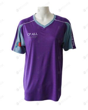 เสื้อยืดคอวี ตัดต่อ สีม่วง-เทาหิน สกรีน no.24