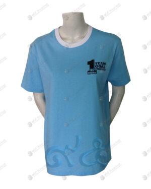 เสื้อยืด คอกลม ตัดต่อ สีฟ้า-ขาว สกรีน no.67